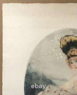 Gravure Aquatinte Art Déco Attr William Ablett Portrait Femme Mode Ombrelle 1920