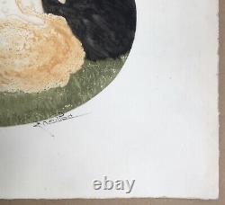 Gravure Art Déco Epreuve d'Artiste Charles Naillod Femmes Erotiques Moineaux