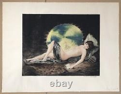 Gravure Art Déco William Ablett Portrait Femme Nue Parasol Estampe Moderne 1928