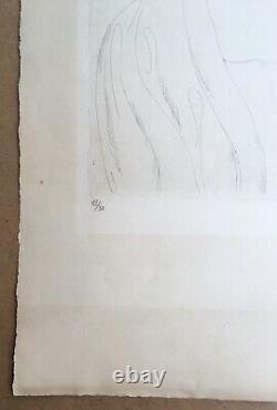 Gravure Eau Forte Originale Portrait de Femme Art Déco Othon Cubine (1883-1969)