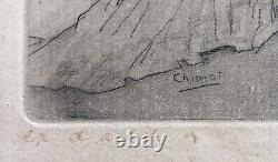Gravure Epreuve d'Artiste Edouard Chimot Bilitis Louÿs Femmes Nues Satyre 1925