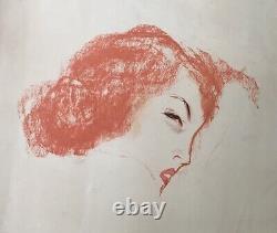 Gravure Originale Aquatinte Portrait Visage Femme Rousse Marcel Vertès 1er état