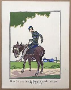 Gravure Originale Pochoir Art Déco Ettore Tito Proverbe Femme Elégante ne Auto