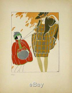 Gravure pochoir André Domin femme et enfant 1919 art déco