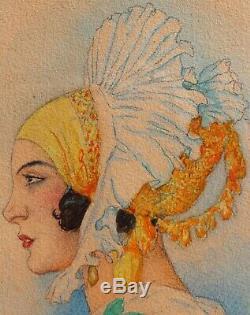 Gustav-Adolf MOSSA, femme, dessin, érotique, Nice, Provence, costume provençal