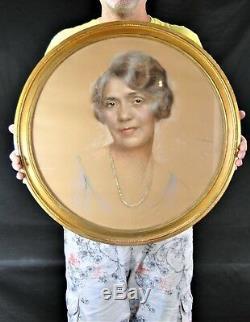 Gustave Brisgand Beau Portrait De Femme Au Pastel Art Deco Peintre De La Jet Set