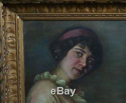 H. DUCOM Portrait de femme HST Ecole française du XIXème siècle Art Déco