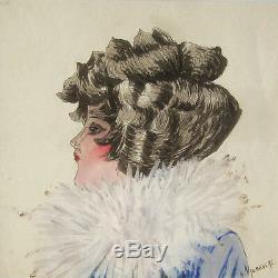 Henri Vaudescal Dessin Aquarelle Portrait Jeune Femme Fille Art Deco Tableau