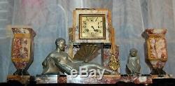 Horloge Art Deco Femme Onyx, Garniture Cheminee, Art Deco Clock Onyx Woman