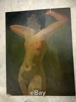 Huile /panneau Femme Nue Style Art Deco