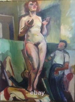 Huile sur toile vers 1940 nu, femme nue Janine Marca, Remise main propre