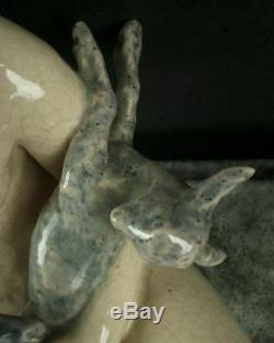 Importante Sculpture Ceramique Craquele Art Deco Femme Nue & Biches Ary Bitter