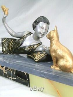 J Salvado Superbe Statue Sculpture Femme Art Deco Fonte D'art Marbre 1925 Chat