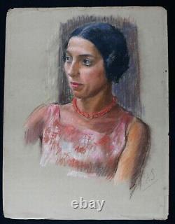 Jeune femme au collier circa 1930 pastel 65 x 50 cm ART DECO monogramme MODE