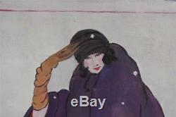 Jeune femme dans la neige style Art déco dans le gout des années 30