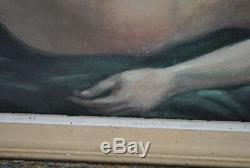 Jeune femme nue Peinture signée Hilgers 1930 Olympia nue Art déco