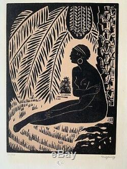 Jules MIGONNEY Gravure sur bois orientaliste africaniste art deco femme nue 1923