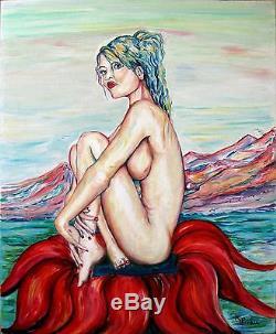 KSPERSEE art contemporain tableau peinture huile portrait femme nu drouot fleur