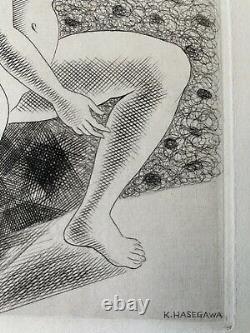 Kiyoshi HASEGAWA gravure eau forte original etching 1929 femme nue Art Deco