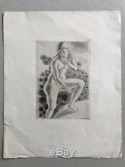 Kiyoshi HASEGAWA gravureeau forte original etching 1929 femme nue art deco