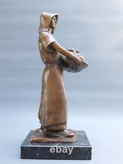L. A. Carvin 1875-1951 Femme Au Panier Bronze Scuplture Statuette Art Deco 1900