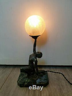 LAMPE STATUE femme danseuse ART DECO FONTE DART ET MARBRE 1930