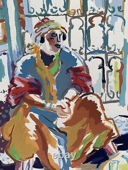 LOUIS RIOU Peinture Gouache orientaliste Maroc Algérie Tunisie Portrait Femme