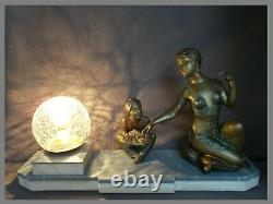 Lampe art deco 30s sculpture femme orientale danseuse bijoux statue lamp figural