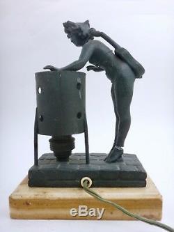 Lampe signé Femme Cigale ART NOUVEAU 1900