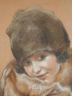 Leo Fontan Dessin Pastel Tableau Portrait Jeune Fille Femme Renard Art Deco