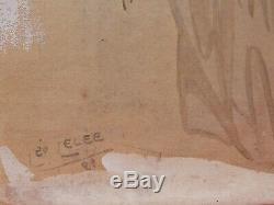 Léo Lelée dessin portrait jeune femme Arlésienne ARLES tableau gouache aquarelle