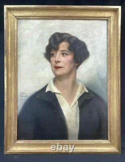 Leon Galand Superbe Portrait D'une Elegante Art Deco Signe Date 1926 H/t Femme