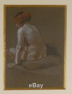Léon Jouhaud, Portrait Nu d'Une Femme, Pastel époque Art Déco