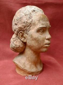 Léon MORICE sculpture terre cuite portrait femme Africaine Art Déco africanisme