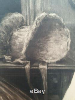 Lithographie ovale art déco 1930 signée Maurice Millière les petites femmes