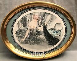 Lithographie signée Louis Icard époque art déco femme au châle