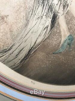 Louis Icart Aquatinte Originale Signee Midinette Portrait De Femme Raisin Vin