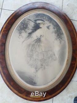Louis Icart-Aquatinte-eau forte-Femme-l'oiseau favori-Paris-1920-art déco-cadre