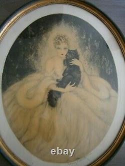 Louis Icart Elegante Au Chat Mode Femme Art Deco 1935 Epreuve Artiste Gravure