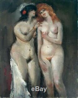 Louis Touchagues / tableau femme nu / maison close / LesbianismeLes deux ami