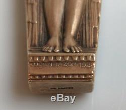 Lucien BAZOR (1889 1974) coupe papier bronze doré femme nue à lenfant 1928