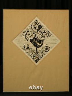 Lucien Coutaud Belle Gravure Portrait de Femme Fleurs Éroticomagie Surrealiste