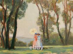 Lucienne LEROUX tableau huile paysage femme ombrelle Côte d'Azur mer Art Déco