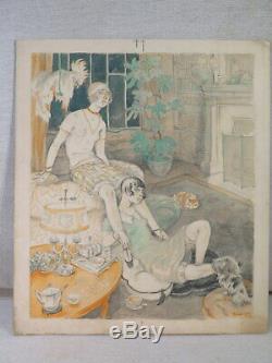 Ludwig Kainer Ancien Dessin Aquarelle Femmes Interieur New York Epoque Art Deco