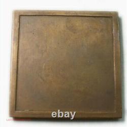 MEDAILLE carré plaque Art déco Femme nue par Marcel RENARD (FR2) med532
