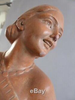 Magnifique Sculpture Jeune Femme En Maillot S. Melani Platre Art Deco Vintage