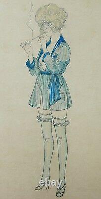 Marcel BUCHAILLE dessin aquarelle jeune femme nue cigarette Art Déco tableau
