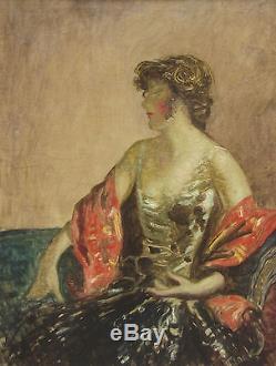 Mark Lajos Tableau Portrait Femme Hongrie Art Hongrois Peinture Huile Art Deco