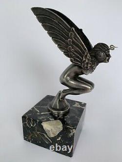 Mascotte Automobile Femme Ailee Art Deco Bronze Argente Marcel Bonnot H3547