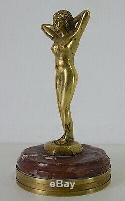 Mascotte Automobiles Amilcar Femme Nue signée VEYRARD Bronze Art Déco 1925